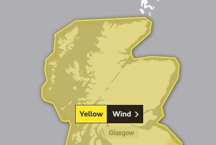 The yellow warning will begin at midday on Sunday. Pic: Met Office