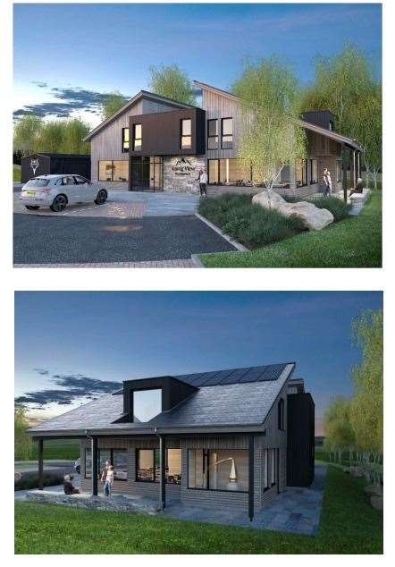 A visual impression of the proposed restaurant and one of the houses on the site at the north entrance to Aviemore.
