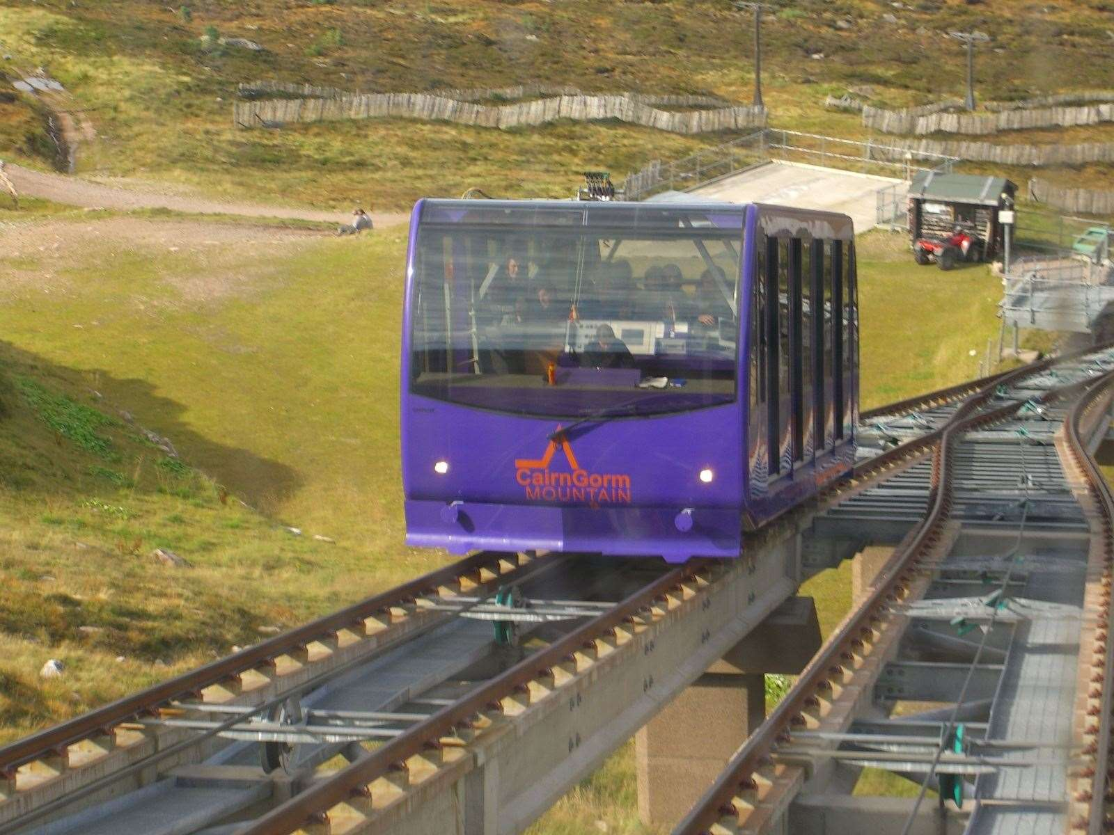 The funicular railway, which is currently out of service, on Cairngorm Mountain.