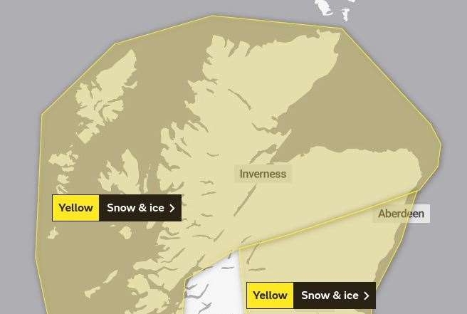 The newly-revised warning will now remain in place for longer and extends further south. Picture: Met Office.