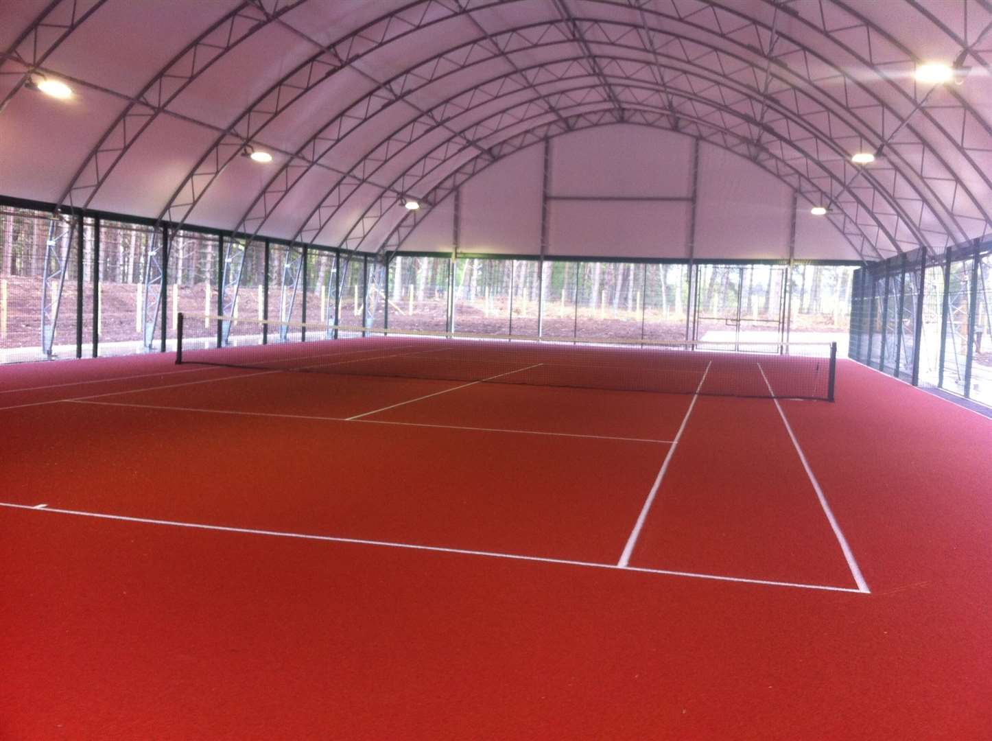 The new indoor court which has a polymeric playing surface designed to be kinder to joints.
