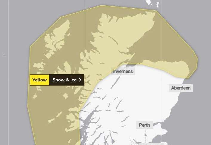 The area covered by the first snow warning. Picture: Met Office.