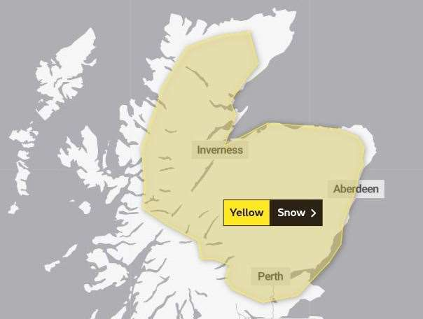 The area covered by the snow warning has now been extended across much of the Highlands. Picture: Met Office.
