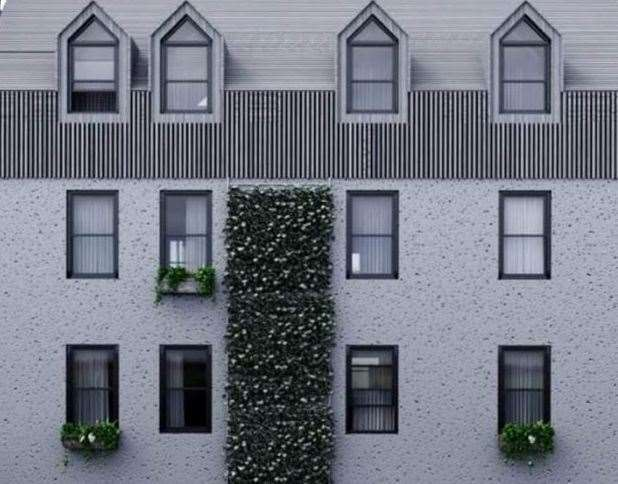 An artist's impression of how a living wall on the former police station would look.