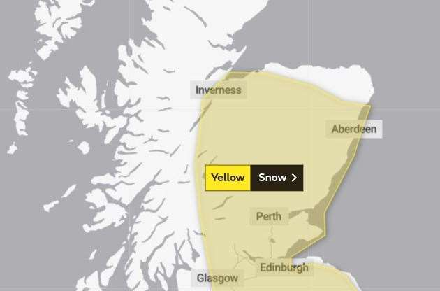 The area covered by the second snow warning. Picture: Met Office.