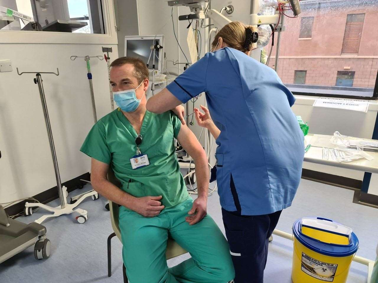 Dr Jonathan Whiteside, clinical lead for critical care with NHS Highland, was the first person to be vaccinated in the NHS Highland area.