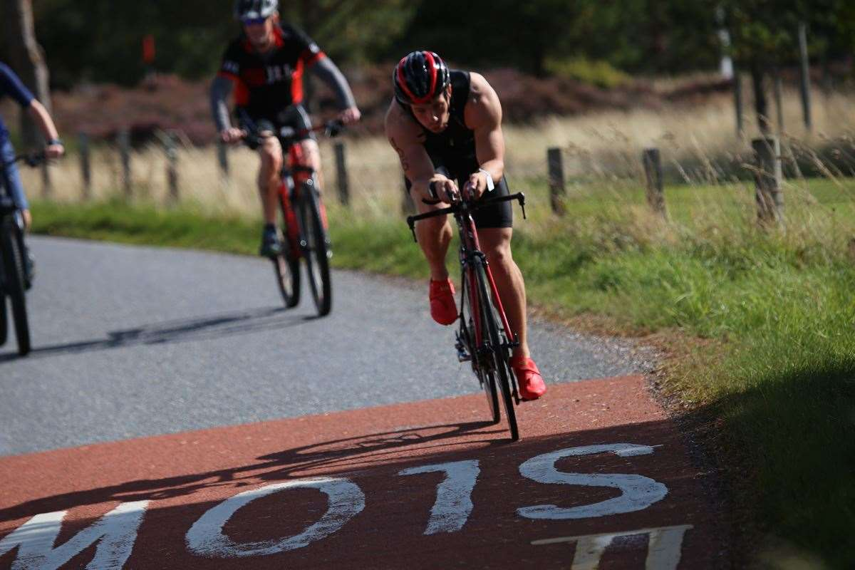 Competitors taking part in the bike ride leg of last year's Grantown Try Tri.